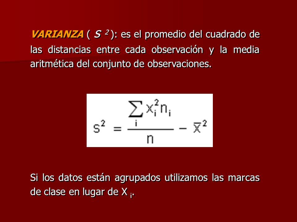VARIANZA ( s 2 ): es el promedio del cuadrado de las distancias entre cada observación y la media aritmética del conjunto de observaciones.