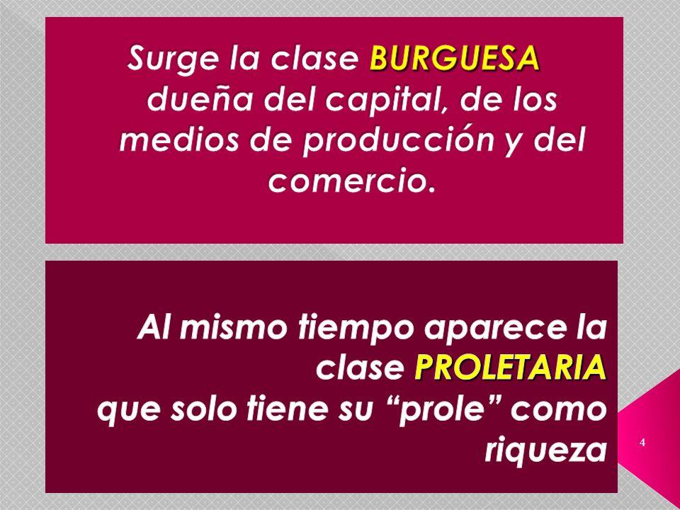 Surge la clase BURGUESA dueña del capital, de los medios de producción y del comercio.