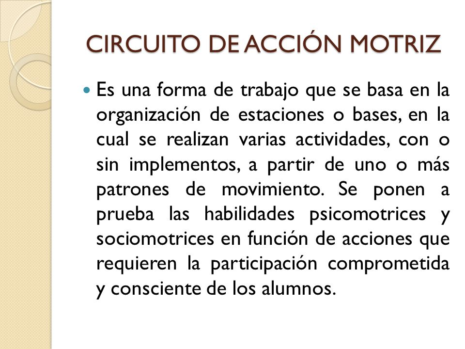 Circuito De Accion Motriz : Estrategias didÁcticas ppt video online descargar