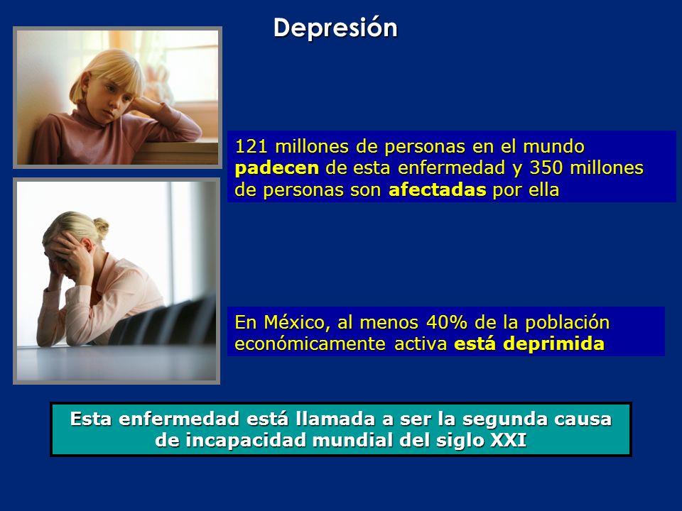 Depresión121 millones de personas en el mundo padecen de esta enfermedad y 350 millones de personas son afectadas por ella.