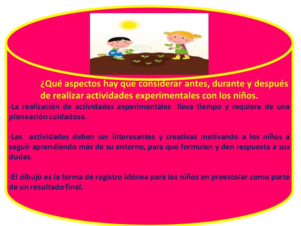 ¿Qué aspectos hay que considerar antes, durante y después de realizar actividades experimentales con los niños.