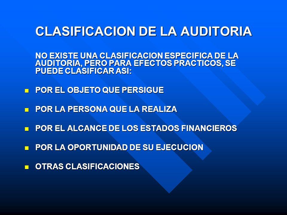 CLASIFICACION DE LA AUDITORIA