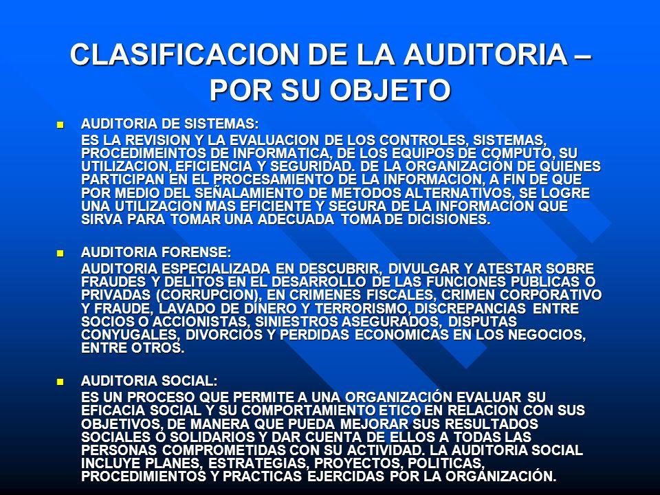 CLASIFICACION DE LA AUDITORIA – POR SU OBJETO