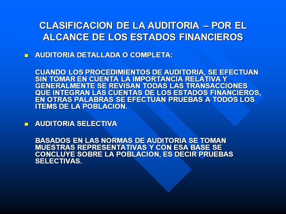 CLASIFICACION DE LA AUDITORIA – POR EL ALCANCE DE LOS ESTADOS FINANCIEROS