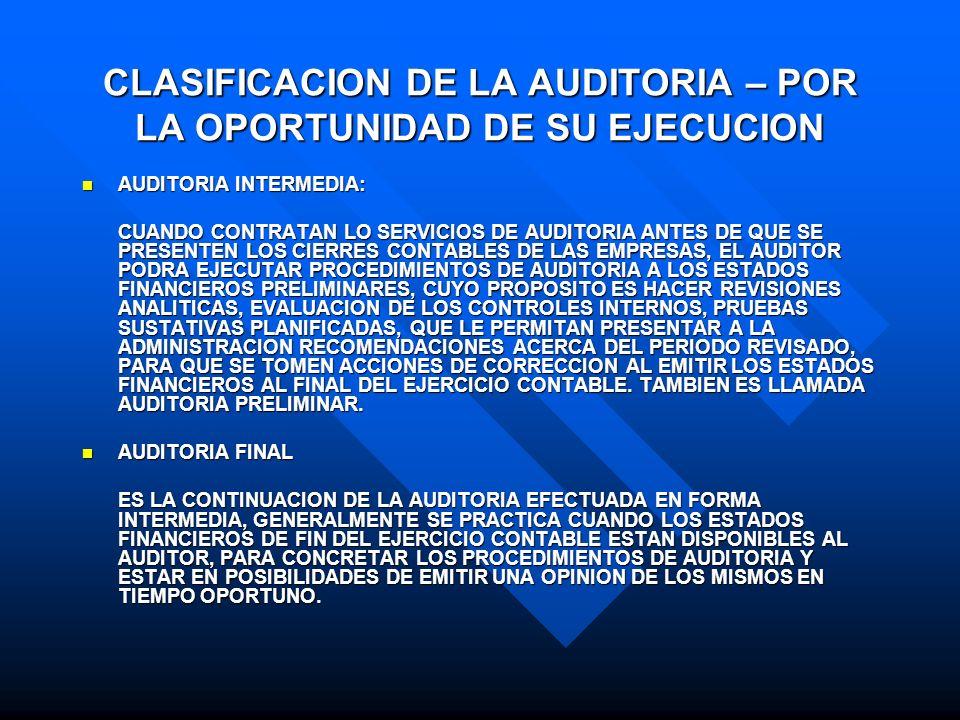 CLASIFICACION DE LA AUDITORIA – POR LA OPORTUNIDAD DE SU EJECUCION