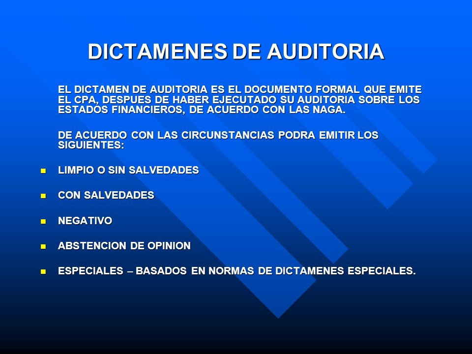 DICTAMENES DE AUDITORIA