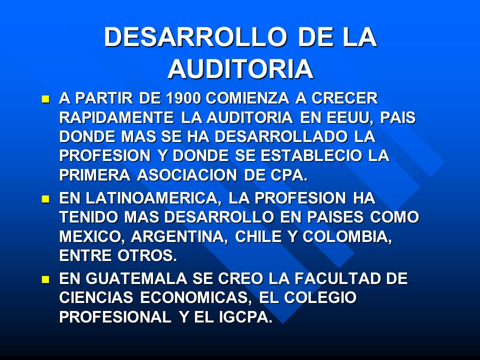 DESARROLLO DE LA AUDITORIA