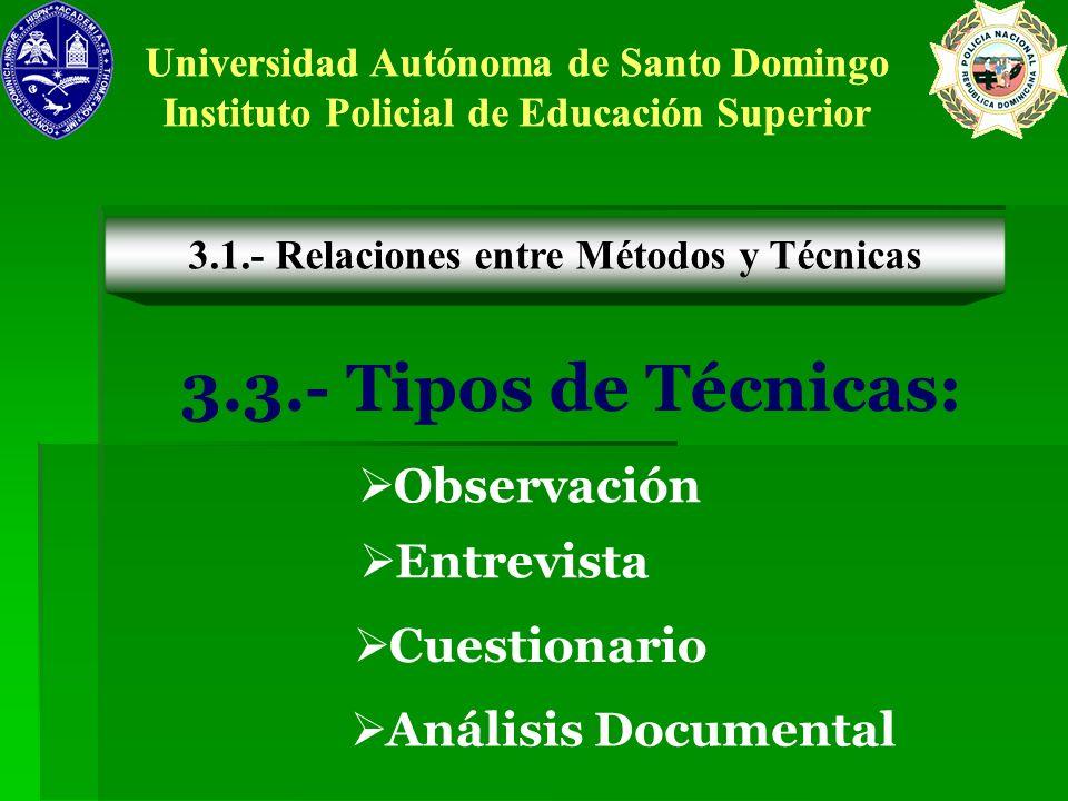 3.3.- Tipos de Técnicas: Observación Entrevista Cuestionario