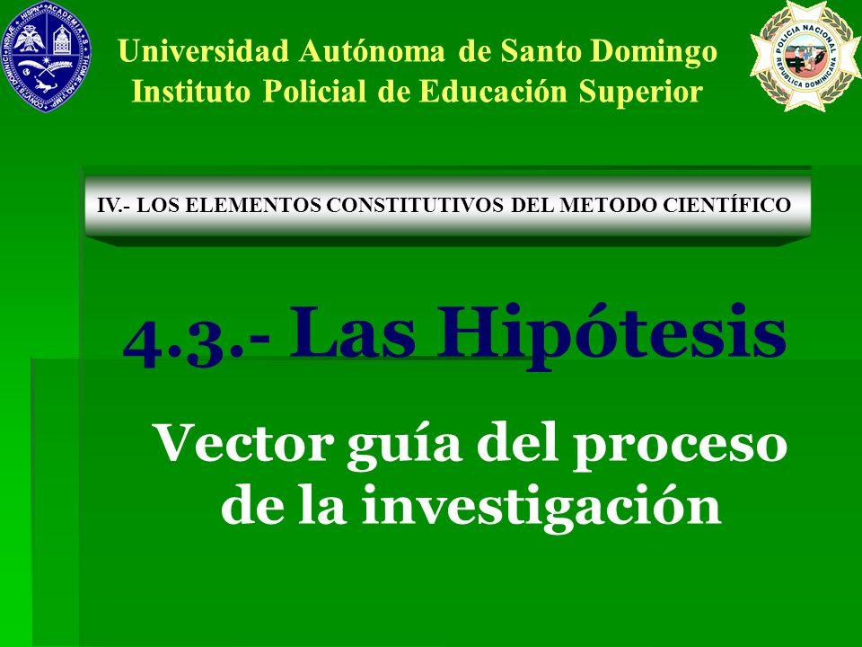 4.3.- Las Hipótesis Vector guía del proceso de la investigación