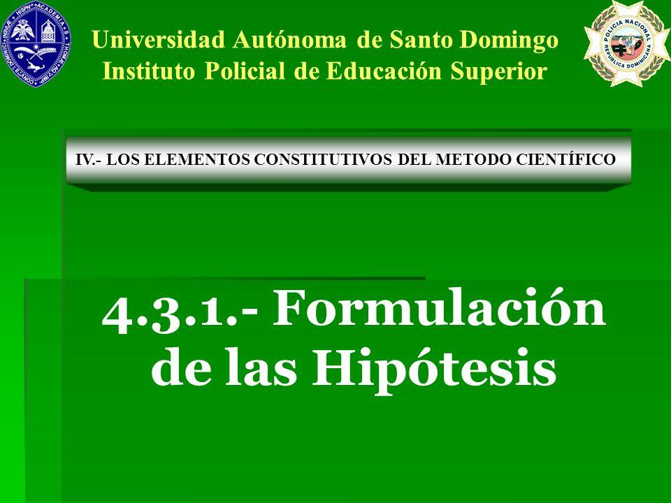 4.3.1.- Formulación de las Hipótesis