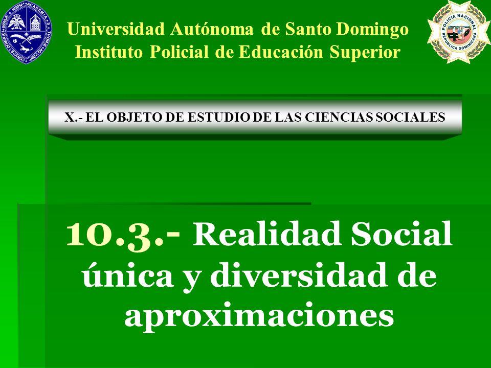 10.3.- Realidad Social única y diversidad de aproximaciones