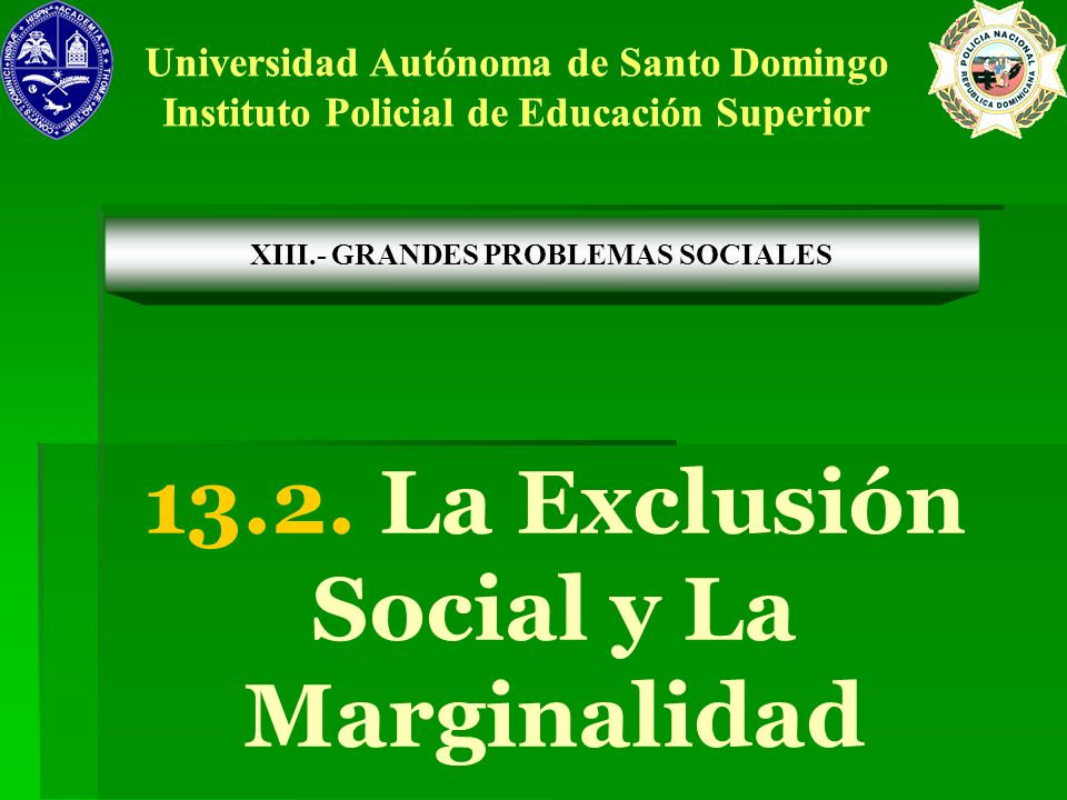 13.2. La Exclusión Social y La Marginalidad