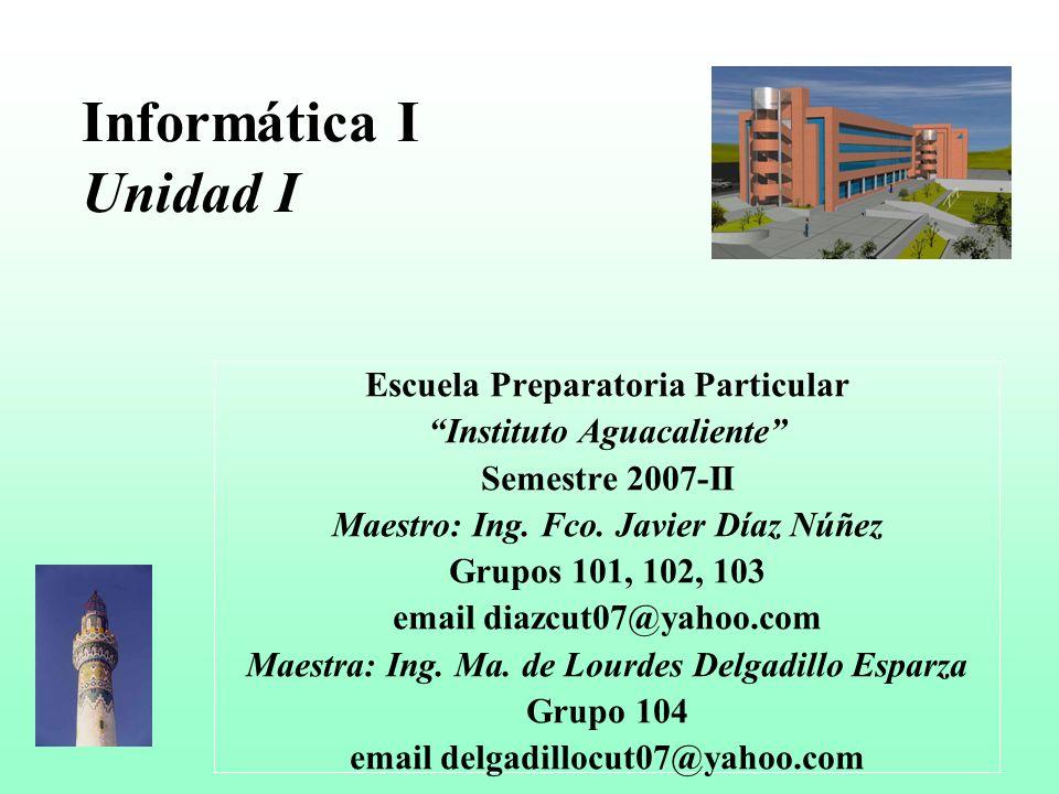 Informática I Unidad I Escuela Preparatoria Particular
