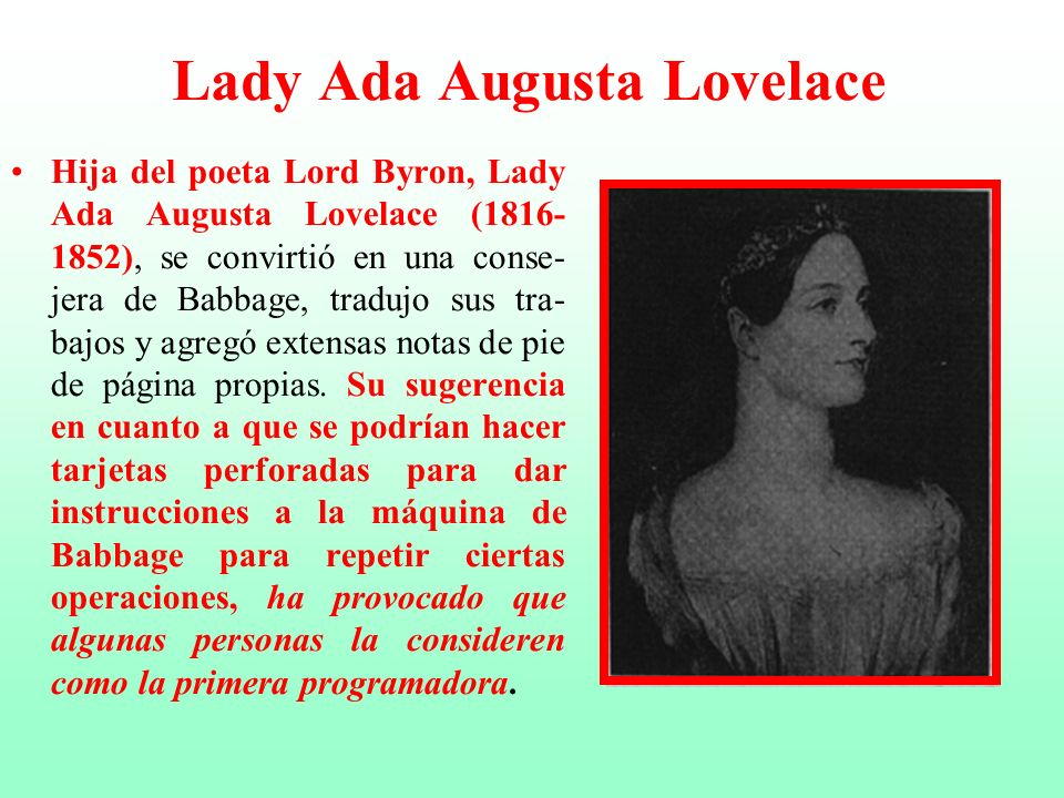 Lady Ada Augusta Lovelace