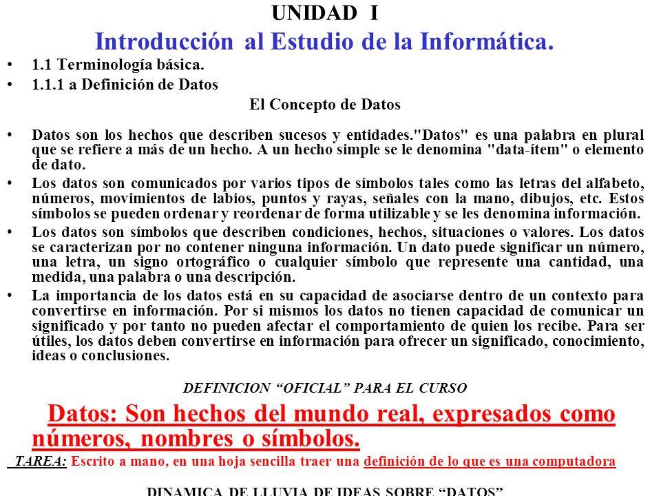 UNIDAD I Introducción al Estudio de la Informática.