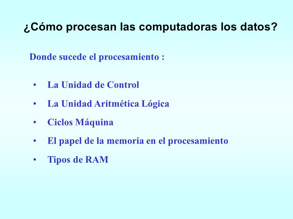 ¿Cómo procesan las computadoras los datos
