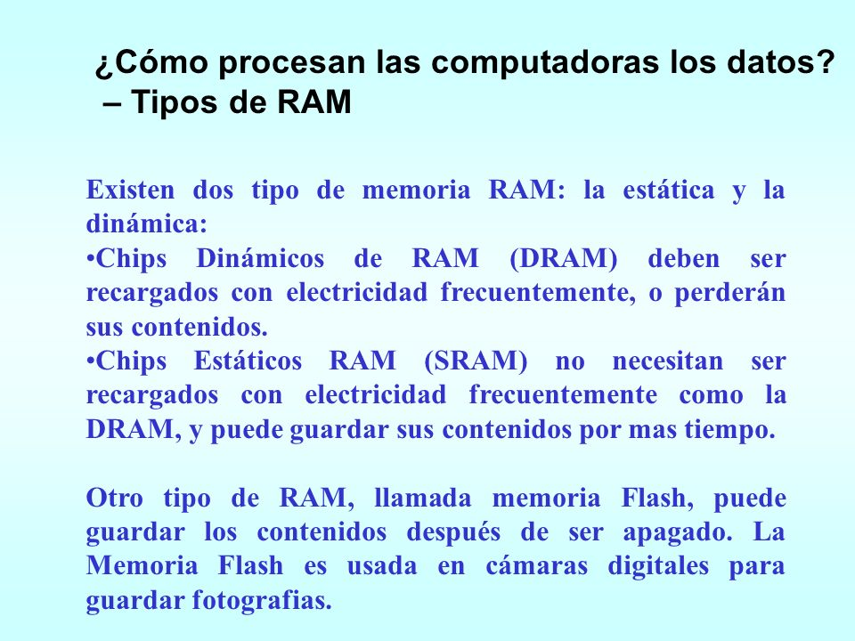 ¿Cómo procesan las computadoras los datos – Tipos de RAM