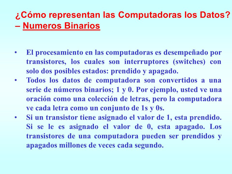 ¿Cómo representan las Computadoras los Datos – Numeros Binarios