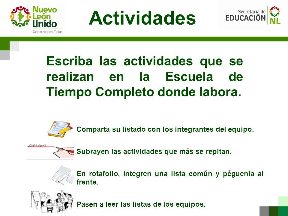 Actividades Escriba las actividades que se realizan en la Escuela de Tiempo Completo donde labora.