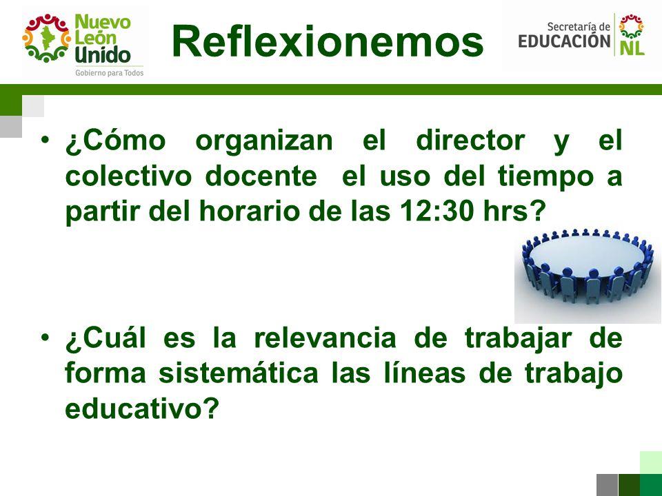 Reflexionemos ¿Cómo organizan el director y el colectivo docente el uso del tiempo a partir del horario de las 12:30 hrs