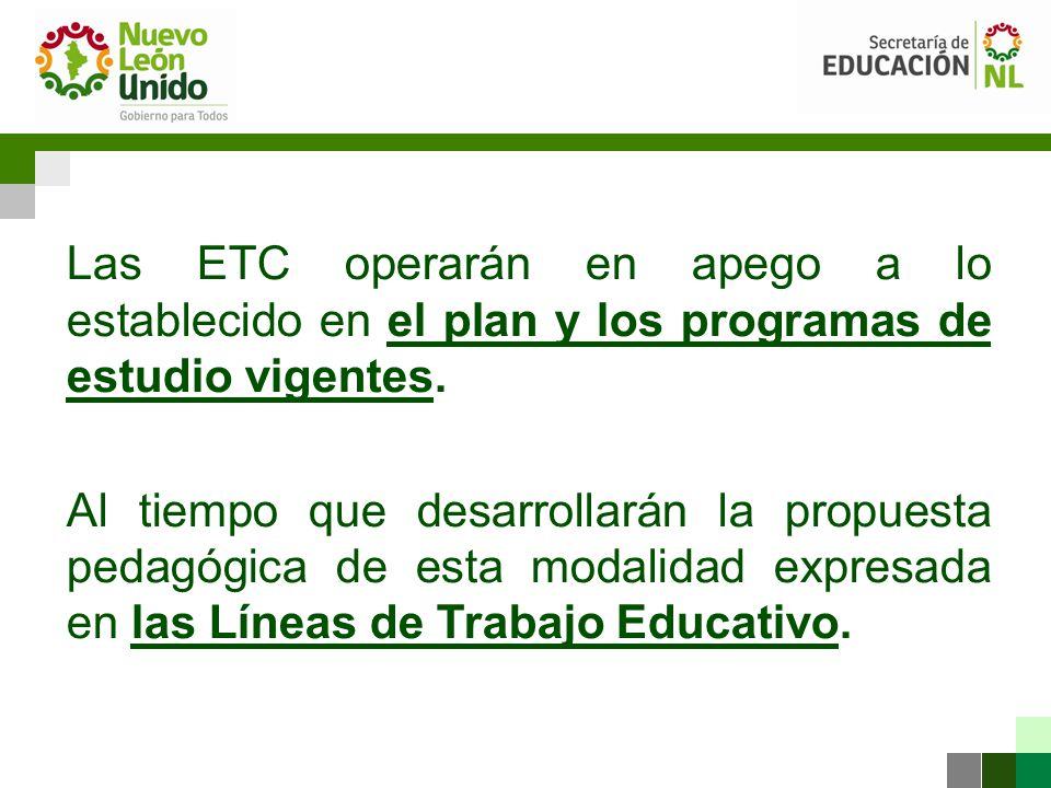 Las ETC operarán en apego a lo establecido en el plan y los programas de estudio vigentes.