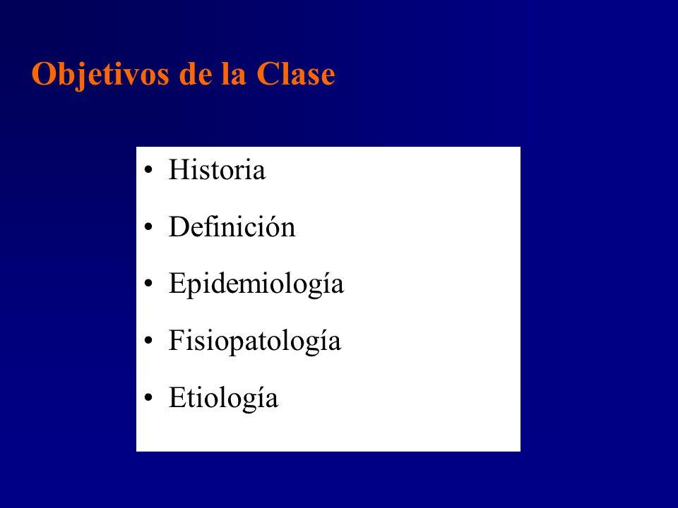 Objetivos de la Clase Historia Definición Epidemiología Fisiopatología
