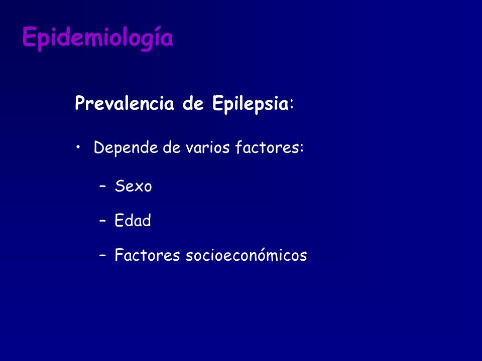 Epidemiología Prevalencia de Epilepsia: Depende de varios factores: