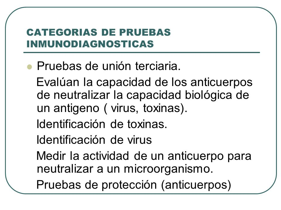 CATEGORIAS DE PRUEBAS INMUNODIAGNOSTICAS