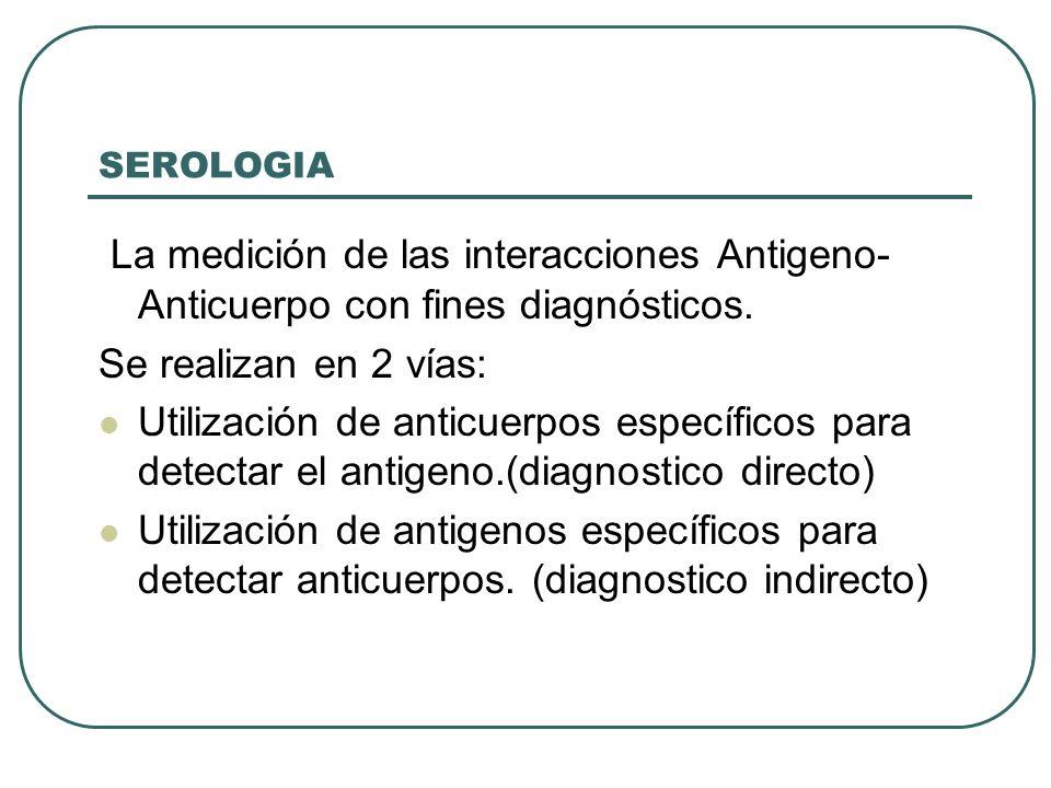 SEROLOGIA La medición de las interacciones Antigeno- Anticuerpo con fines diagnósticos. Se realizan en 2 vías: