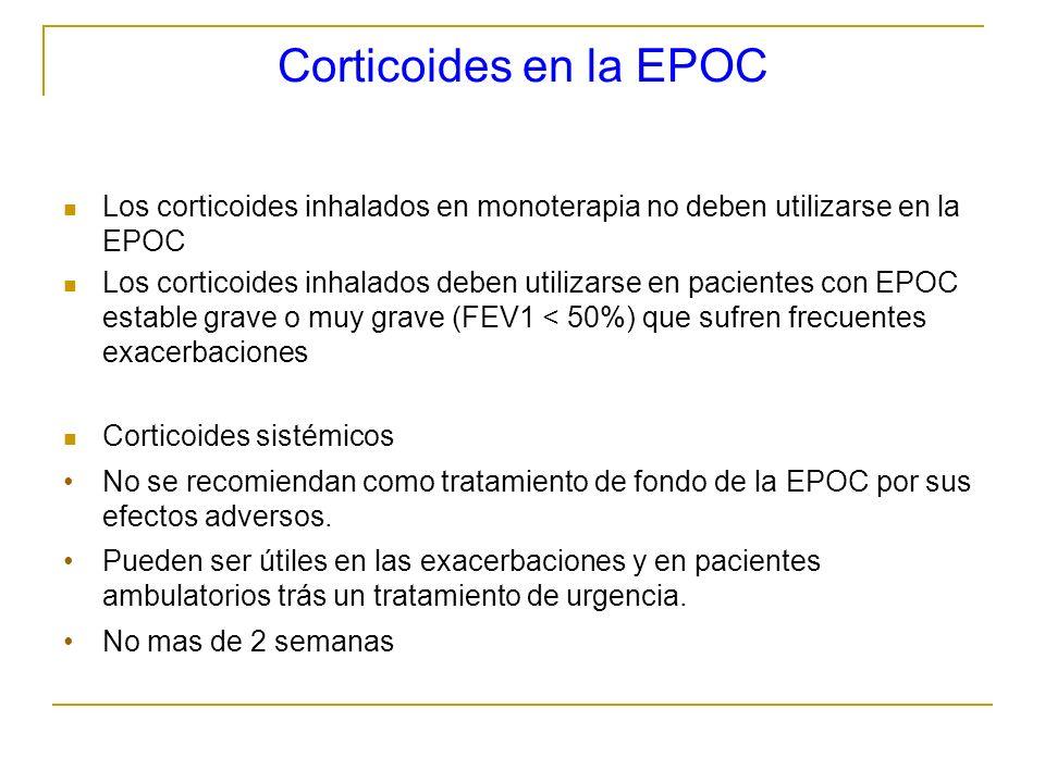 Corticoides en la EPOCLos corticoides inhalados en monoterapia no deben utilizarse en la EPOC.