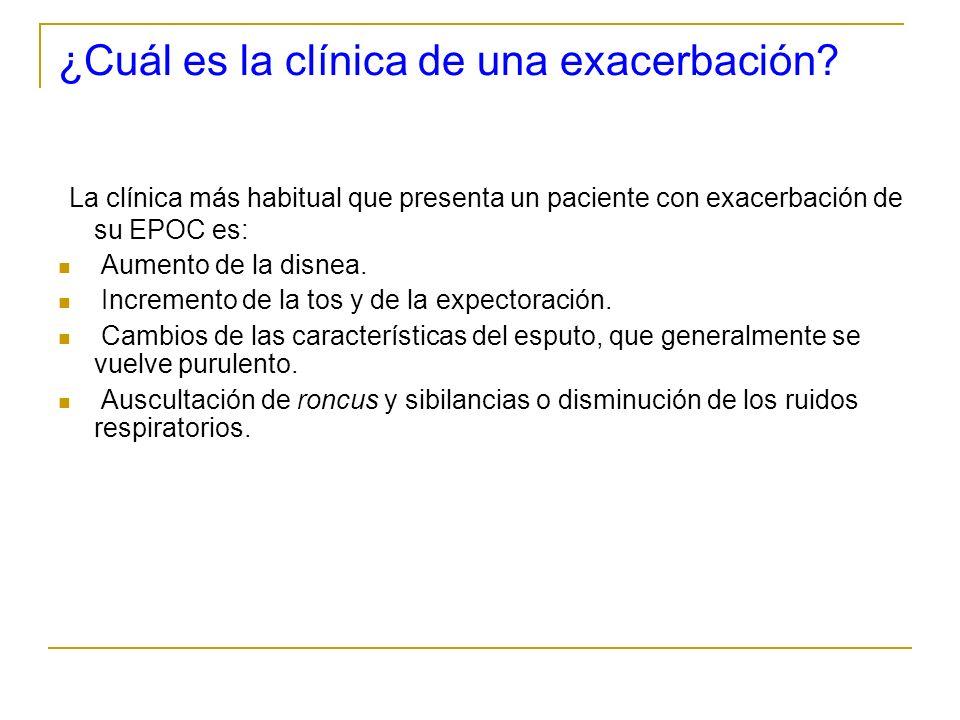 ¿Cuál es la clínica de una exacerbación