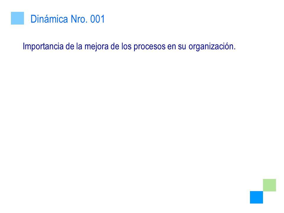 Dinámica Nro. 001 Importancia de la mejora de los procesos en su organización.