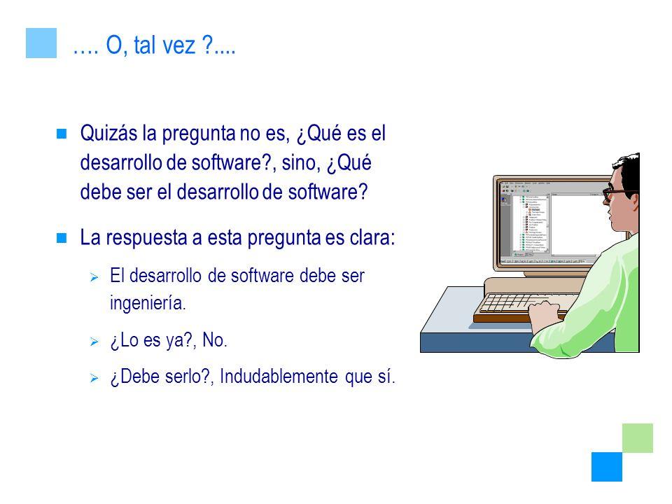 …. O, tal vez .... Quizás la pregunta no es, ¿Qué es el desarrollo de software , sino, ¿Qué debe ser el desarrollo de software