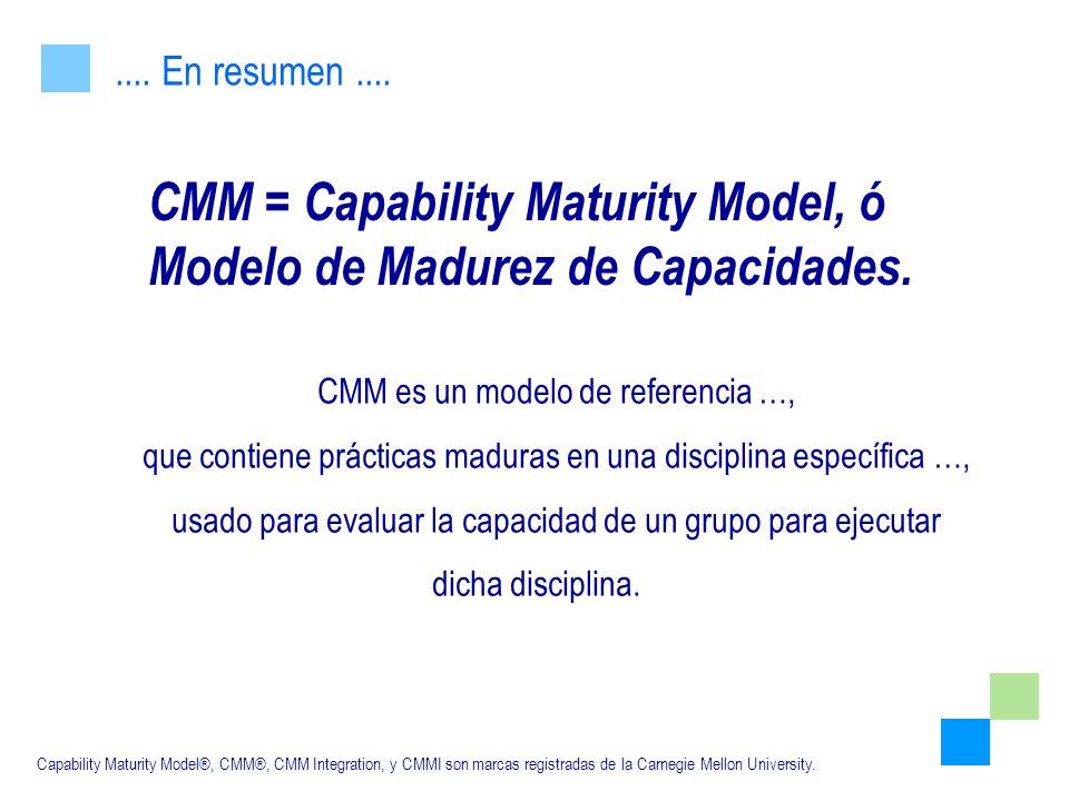 CMM = Capability Maturity Model, ó Modelo de Madurez de Capacidades.
