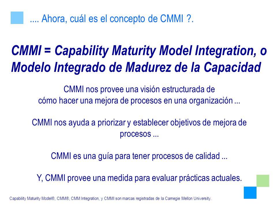.... Ahora, cuál es el concepto de CMMI .