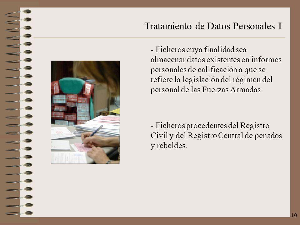 Ficheros cuya finalidad sea almacenar datos existentes en informes personales de calificación a que se refiere la legislación del régimen del personal de las Fuerzas Armadas.