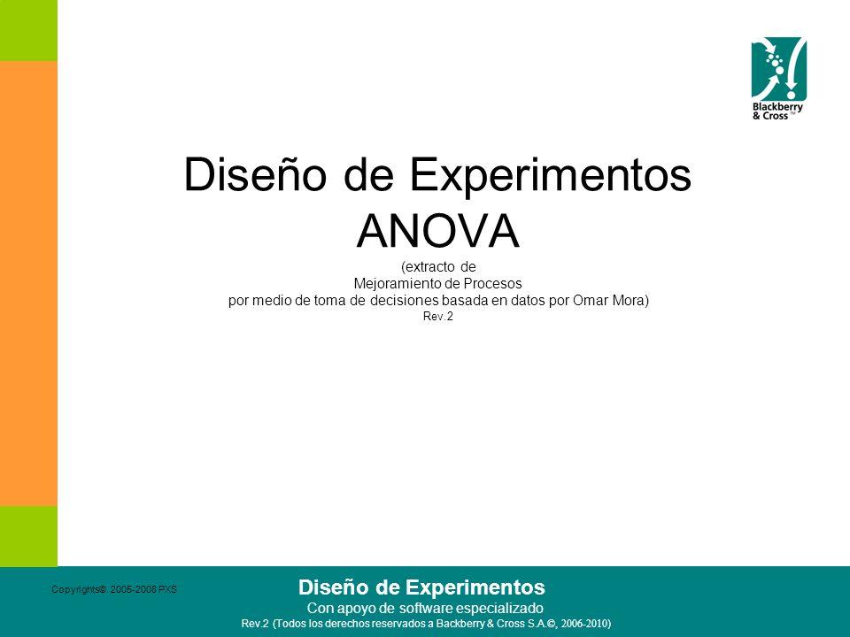 Diseño de Experimentos ANOVA (extracto de Mejoramiento de Procesos por medio de toma de decisiones basada en datos por Omar Mora) Rev.2