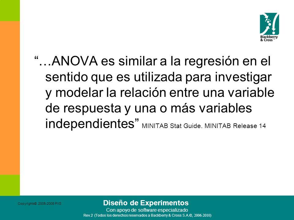 …ANOVA es similar a la regresión en el sentido que es utilizada para investigar y modelar la relación entre una variable de respuesta y una o más variables independientes MINITAB Stat Guide. MINITAB Release 14