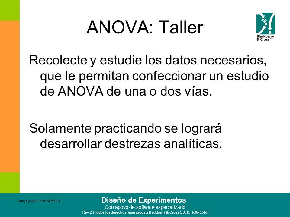 ANOVA: Taller Recolecte y estudie los datos necesarios, que le permitan confeccionar un estudio de ANOVA de una o dos vías.