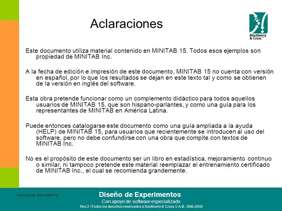 Aclaraciones Este documento utiliza material contenido en MINITAB 15. Todos esos ejemplos son propiedad de MINITAB Inc.