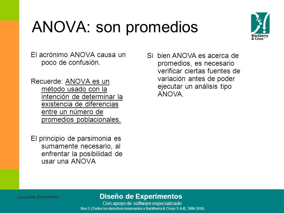 ANOVA: son promedios El acrónimo ANOVA causa un poco de confusión.