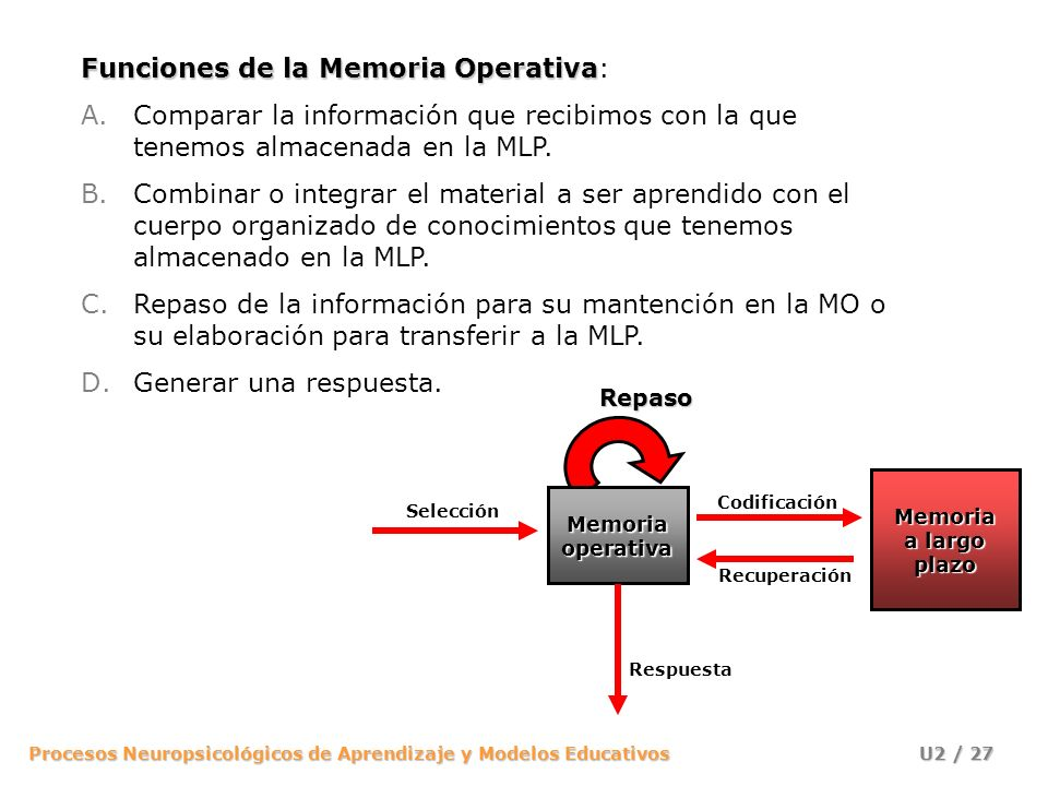 Funciones de la Memoria Operativa:
