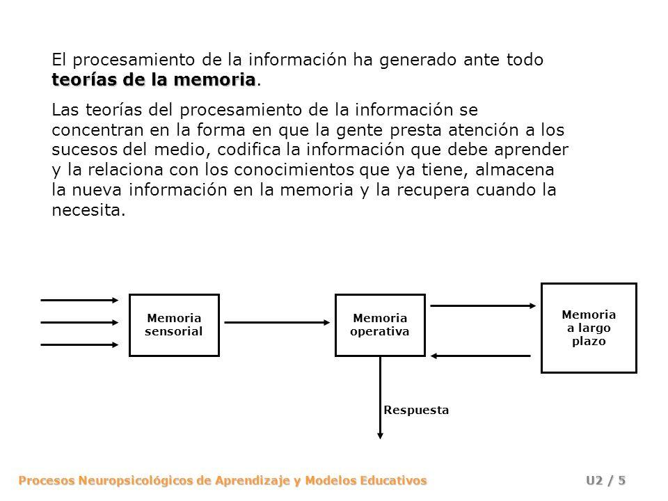 El procesamiento de la información ha generado ante todo teorías de la memoria.