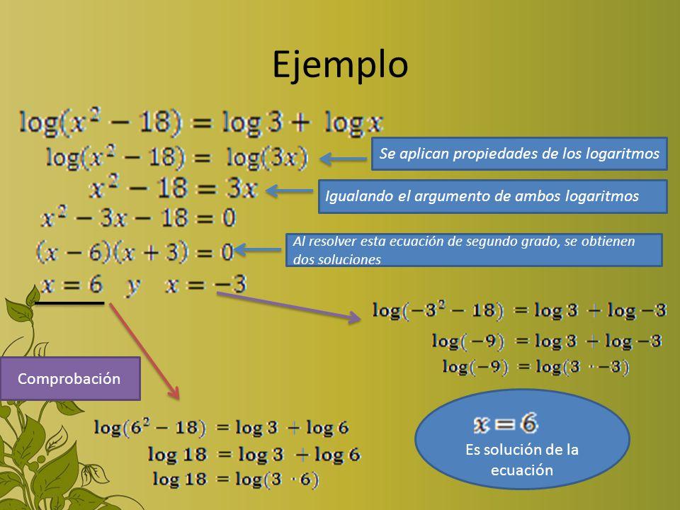 Ejemplo Se aplican propiedades de los logaritmos