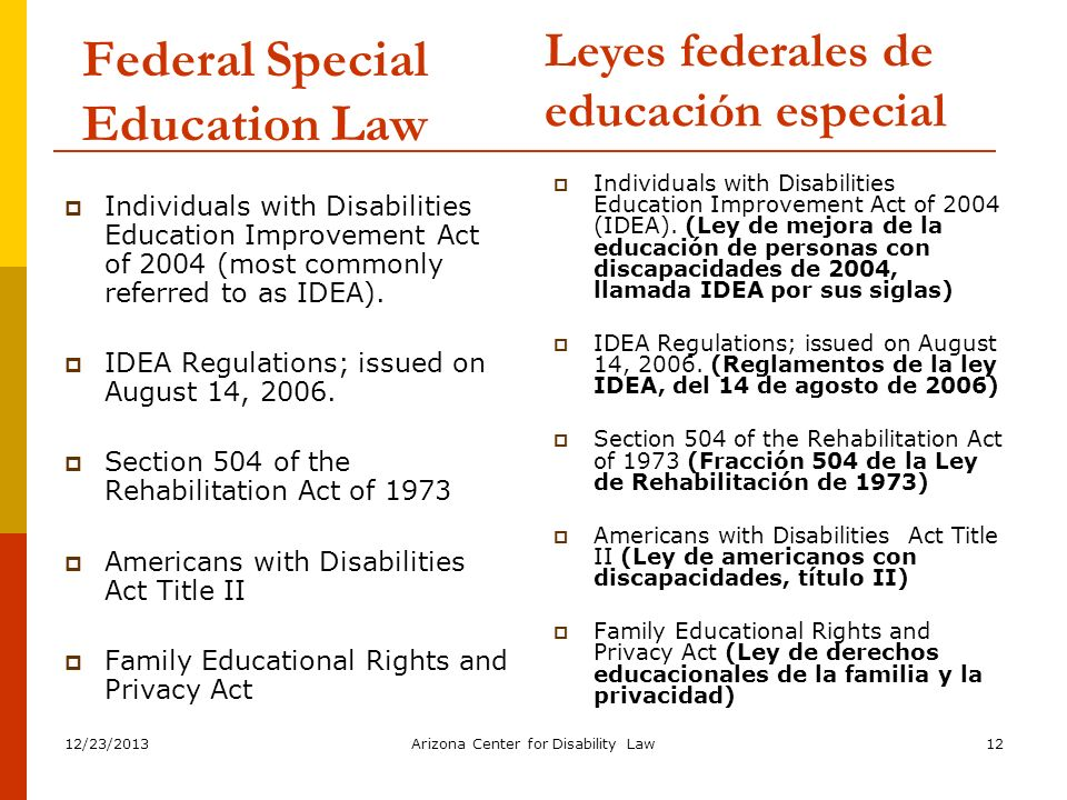 Federal Special Education Law