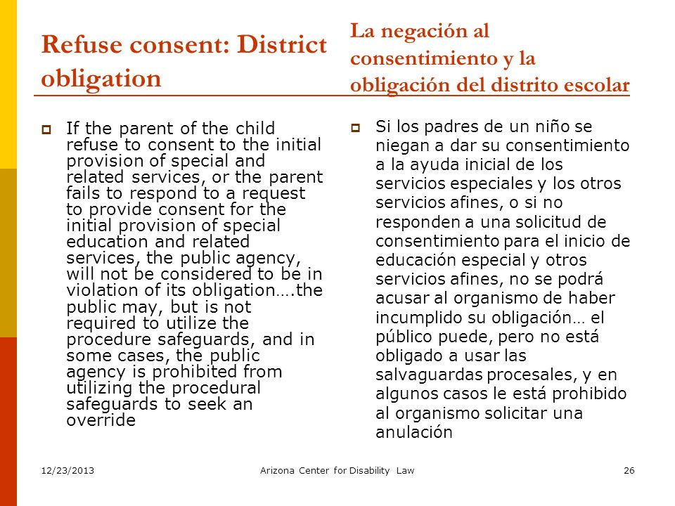 Refuse consent: District obligation
