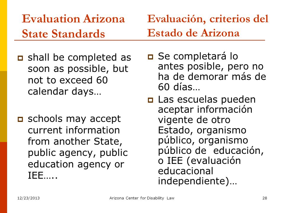 Evaluation Arizona State Standards