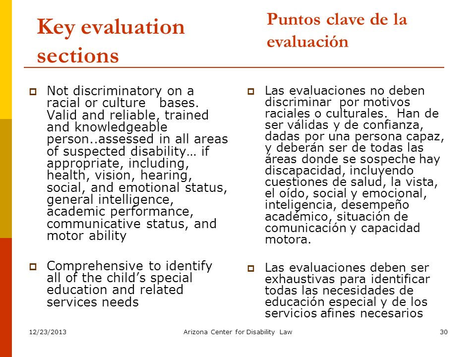 Key evaluation sections