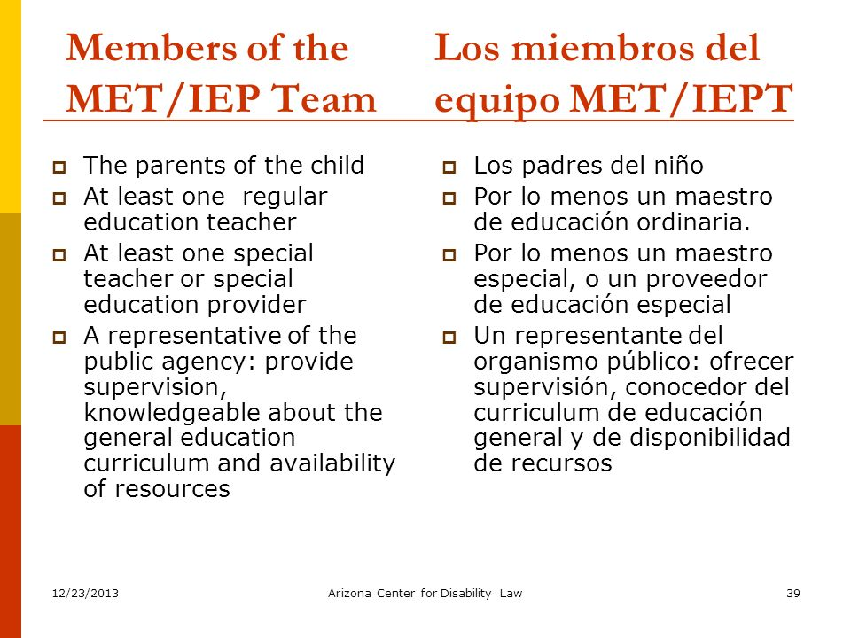 Members of the MET/IEP Team