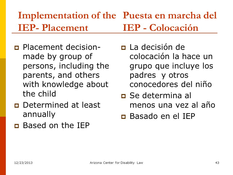 Implementation of the IEP- Placement